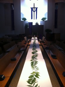 Long Table for Holy Communion in the Sanctuary